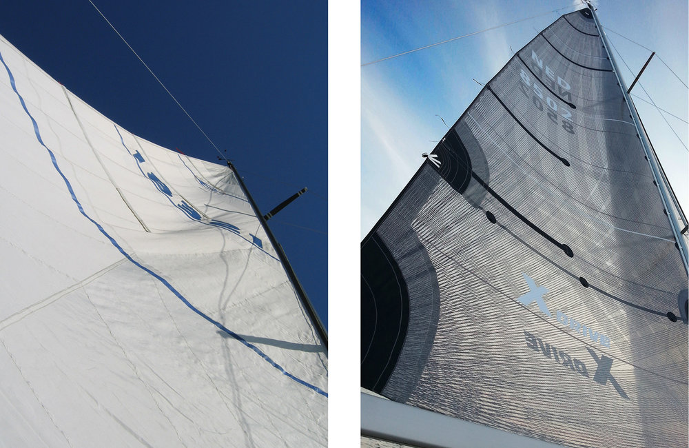 A blown out mainsail on the left shows distortion wrinkles and the draft point too far aft, both of which prevent the sail from giving any aerodynamic lift. Compare it to the sail on the right, which is a smoother, perfectly shaped X-Drive sail.