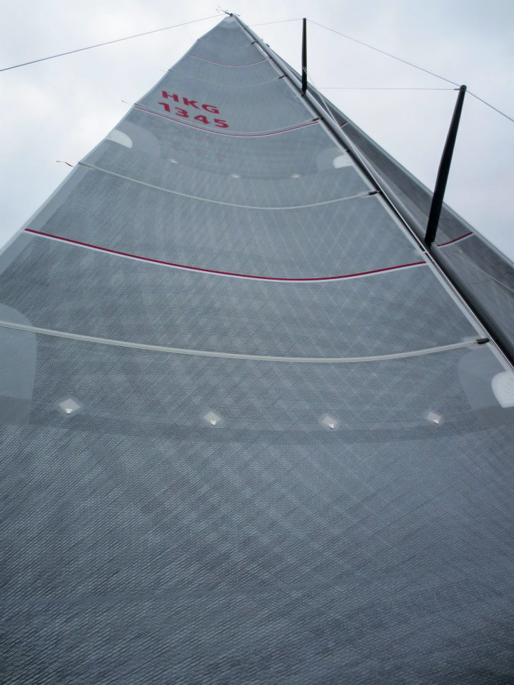 Standard cruising sails have at least one side covered with Taffeta. Above is a Uni-Titanium main with grey Taffeta. Click to enlarge.