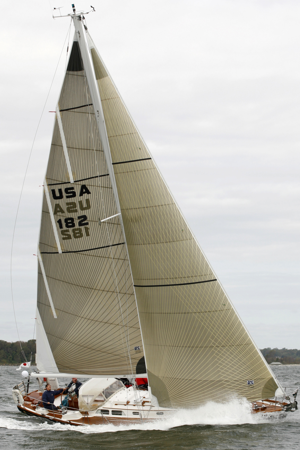 Hinckley Bermuda 40 with Tape-Drive in-mast furling with vertical battens.