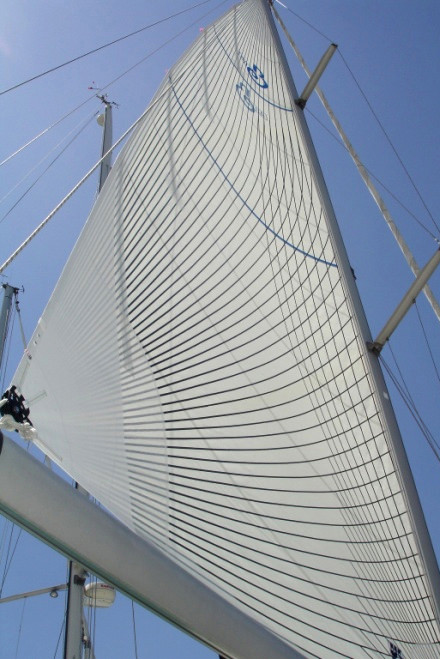 The completed Beneteau Oceanis 411 Tape-Drive in-mast furling main sail with vertical battens.