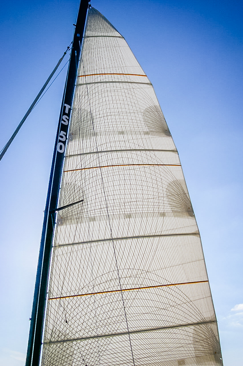 A mainsail single with sided taffeta