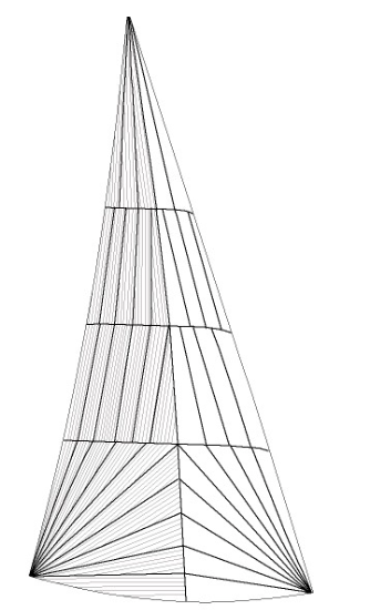 "Radially panelled sails use ""warp-oriented"" cloth where the strongest yarns run the length of the narrow panels as shown by the thin grey lines. For clarity, the diagram only shows thread lines of the panels in the back half of this sail."