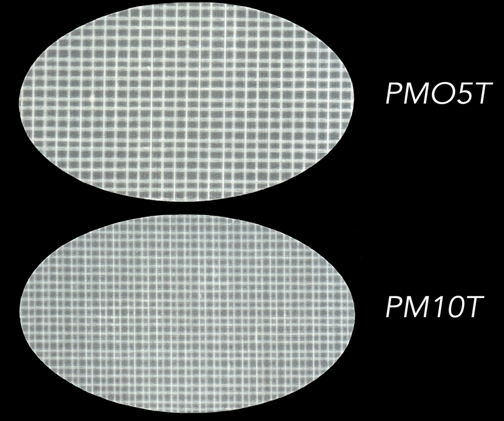 Two different styles of polyester laminates made by Dimension Polyant for Tape-Drive sails. The taffetas and films also come in grey.