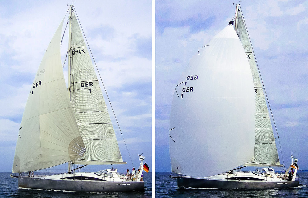 "Shown above is a Berckemeyer 45 with a Cruising Code Zero (left) and a Cruising Spinnaker (right). Notice how the Code Zero is a much flatter ""triangular"" shaped sail that is designed for close reaching. The Cruising Spinnaker is bigger and rounder and designed for broad reaching. Photos courtesy   Berckemeyer Yacht Design  ."