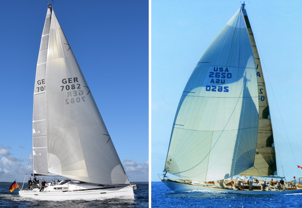 LEFT: Notice how much narrower and flatter the Code Zero is on boats with non-overlapping jibs. These sails are needed as soon as the jib sheet can be eased. RIGHT: On boats with big over-lapping genoas, the Code Zero is not needed for extremely close reaching, which allows the Code Zero to be designed rounder and bigger for sailing slightly broader angles.