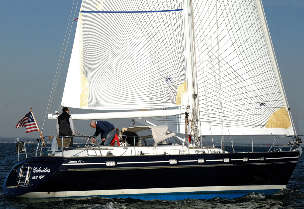 Tape-Drive is strong enough for years of cruising enjoyment as well as has the performance needed for club racing. Above are Tape-Drive Carbon Spectra sails on a Contest 44. The main is an in-mast furling sail with vertical battens.