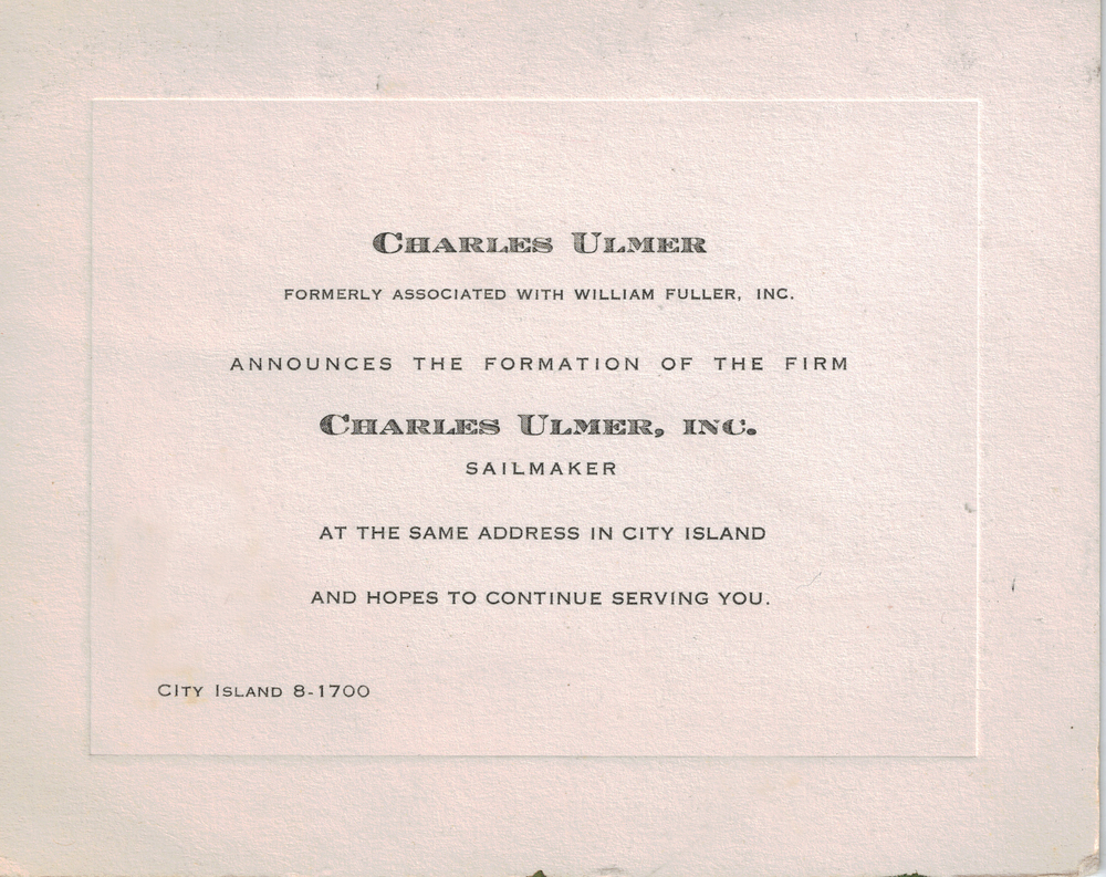 Announcement card from Sept. 1, 1946.