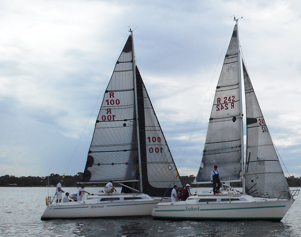 Mark Hansen's ITINERANT sailing with second place finisher SEAHAWK.