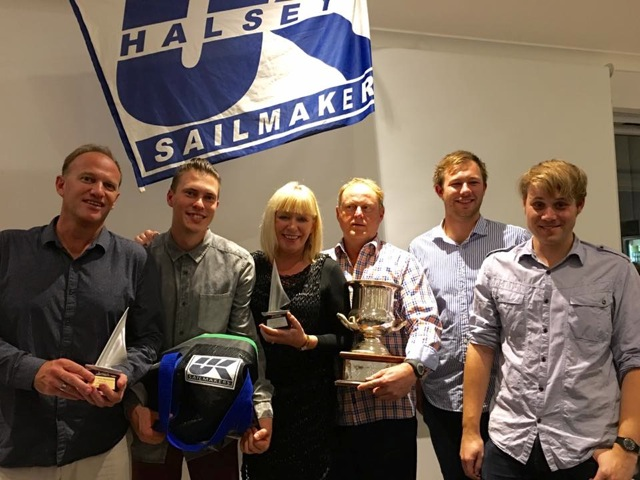 The crew of ITINERANT hauling away the trophies at the Farr 9.2 WA State Championship.