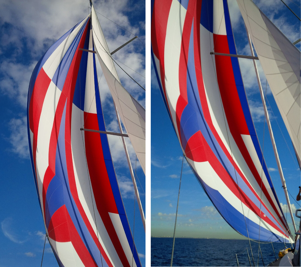 UK Sailmakers designs cruising code zeros where the width of the sail is narrower than on race boats, which makes the sail easier to fly and more versatile. These shots show a cruising code zero on a Beneteau Oceanis 55.
