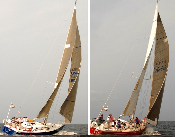 The blue boat on the left is flying a Jib Top, while the similar sized red boat is on the same course with a No. 1 genoa eased out for reaching. These two pictures from the same distance race offer a great comparison of a Jib Top and No. 1 genoa. First you can see the high clew on the blue boat; notice how well the leech of the Jib Top follows the leach of the mainsail. The leech of the red boat's No. 1 genoa is twisted open in the area above the sail numbers. Also, you can see that the mainsail on the red boat is trimmed tighter, which is because of the backwinding off the genoa.