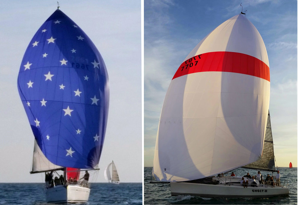 Left : Whitney Green's Jeanneau 43 PACIFIC finished 1st in class in the 2016 Pacific Cup with a complete UK Sailmakers inventory.  Right : Al Berg's Farr 395 GHOST II  finished 1st in class in the 2016 Berger Series, also with a complete UK inventory.