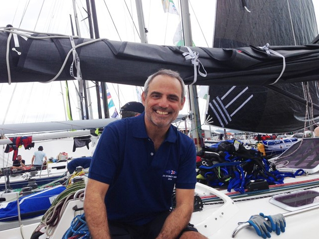 "Joe Mele all smiles after knocking the Sydney Hobart Race off his ""bucket list."""