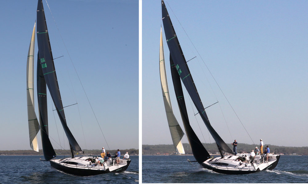 The Flying Jib is trimmed with spinnaker sheets deflected by twings or   tweakers.
