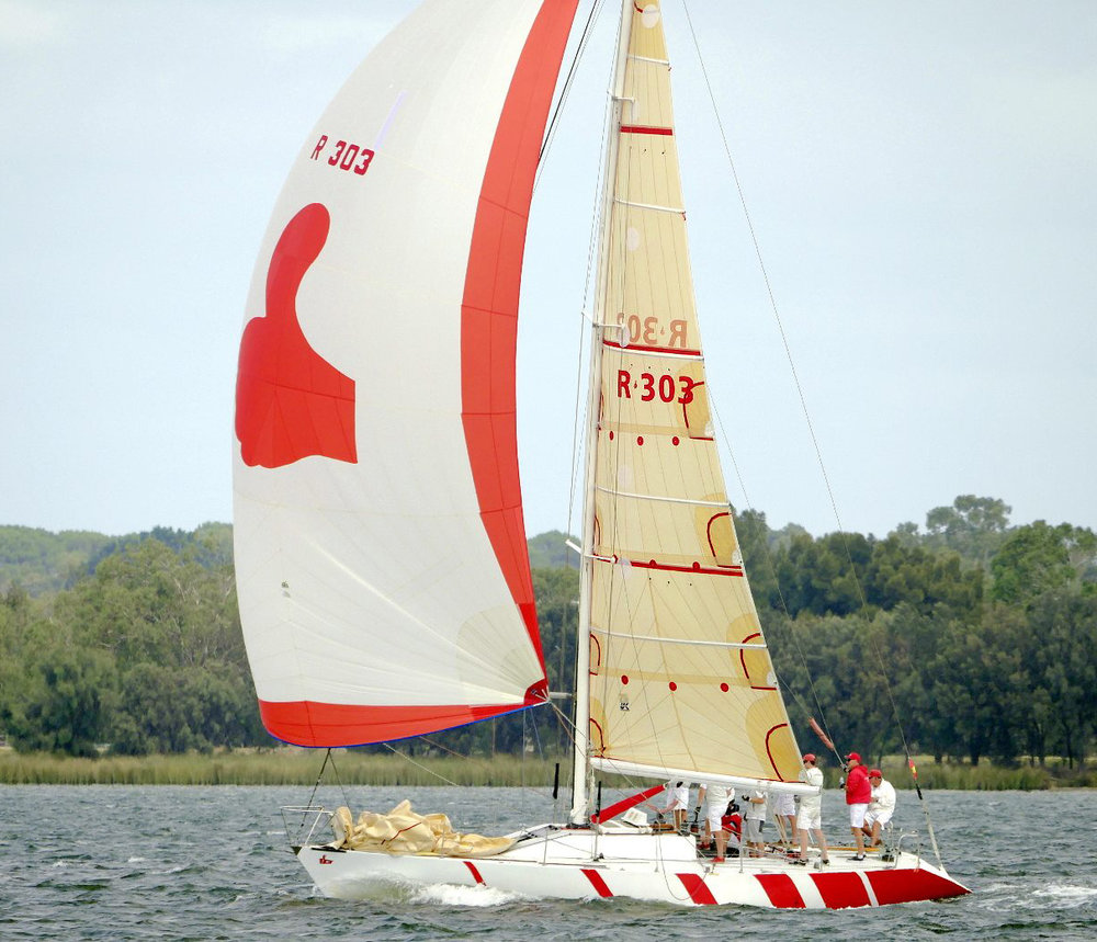 The Frers 40-footer HITCHHIKER, which won the Two-Ton Worlds in 1981. Here she is flying an aramid tri-radial mainsail.   Lindsay Preece/Ironbark Photos