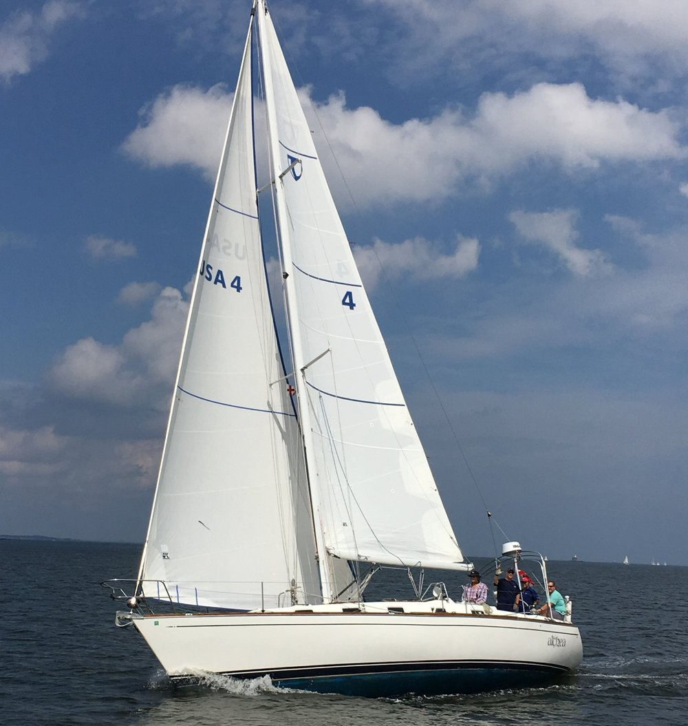 A dacron roller/furling genoa and full-batten main on a Tartan 38. Robin Ricca photo. Click to enlarge.