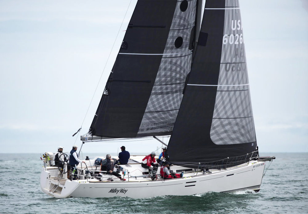 MILKY WAY, a Dufour 40E, uses her X-Drive carbon sails for offshore races. To make the sails bullet proof, the leeches of the sails have a taffeta layer.