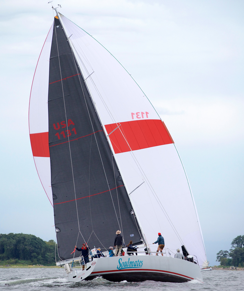 The Uni-Titanium Liteskin main on SOULMATES as she is on her way to setting a new course record in the Douglaston Yacht Squadron's Captain's Island Race.    M. A. Fisher Photography.