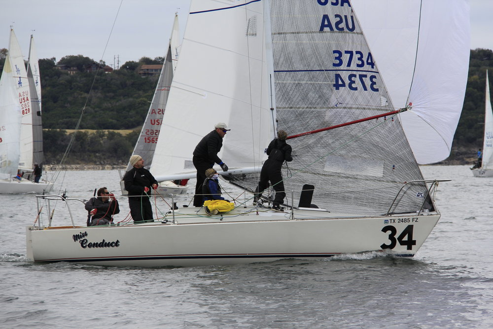Good shots of MISS CONDUCT's Black Aramd Pro Racing genoa.