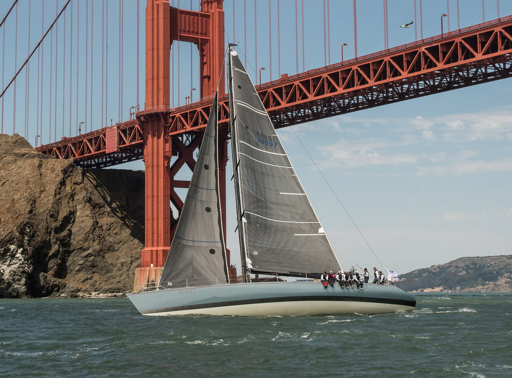 Stuart and Joy Dahlgren's Santa Cruz 70 WESTERLY leaving San Francisco Bay at the start of the 2018 Pacific Cup.