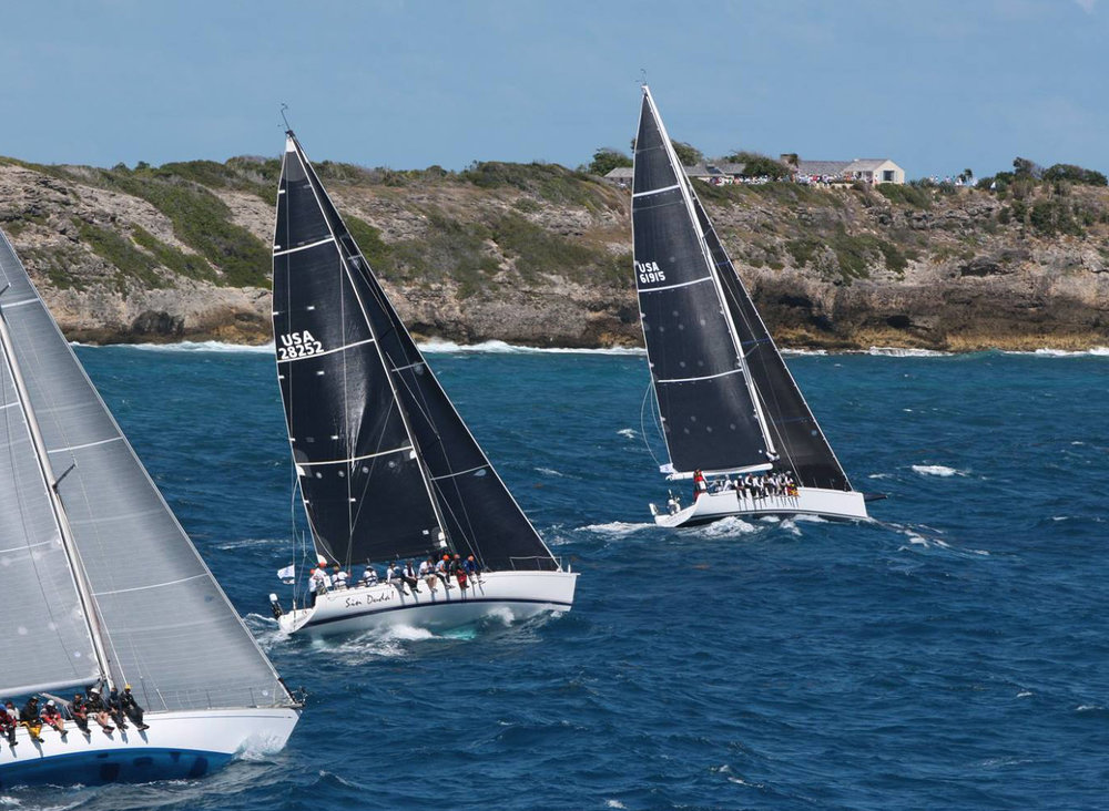 The Marten 49 SUMMER STORM just head of the Santa Cruz 52 SIN DUDA! just after the start of the 2019 Caribbean 600.