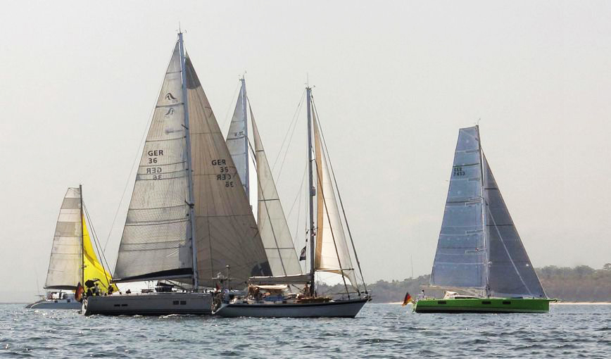 """The Hanse 575 SEASIDE (GER 36) made it to the start of the leg from Panama to the Galapagos with her new Code Zero as shown above. """"It flies well and brings good speed,"""" said Torsten Jonas."""
