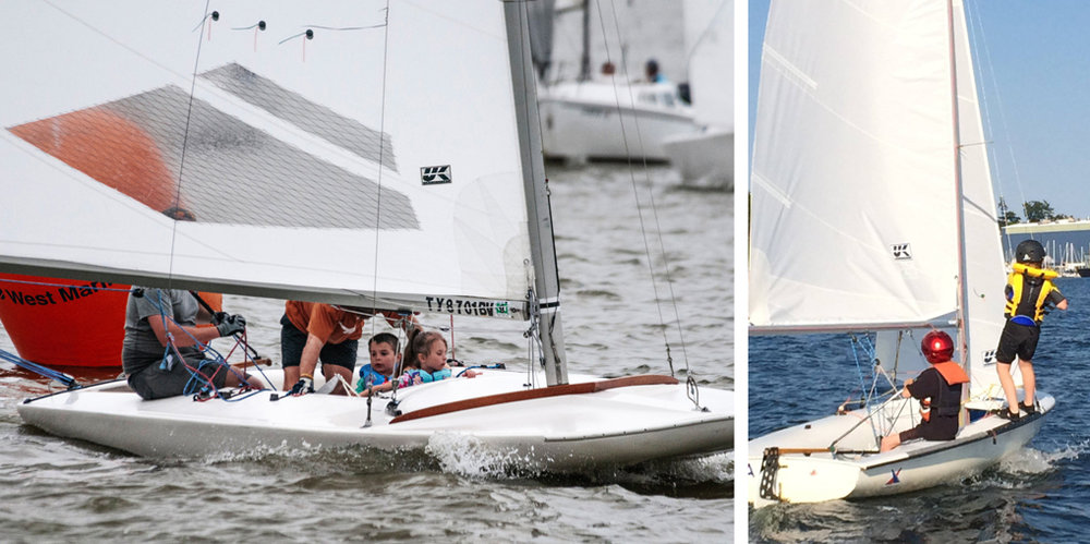 Left picture courtesy John A Lever and 420 picture courtesy Canadian Forces Sailing Association.