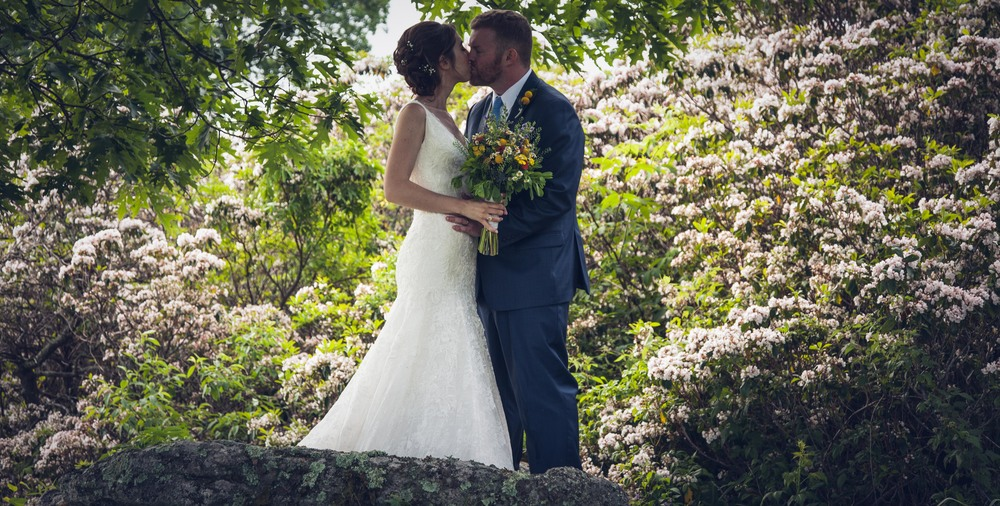 kissing in the flowers