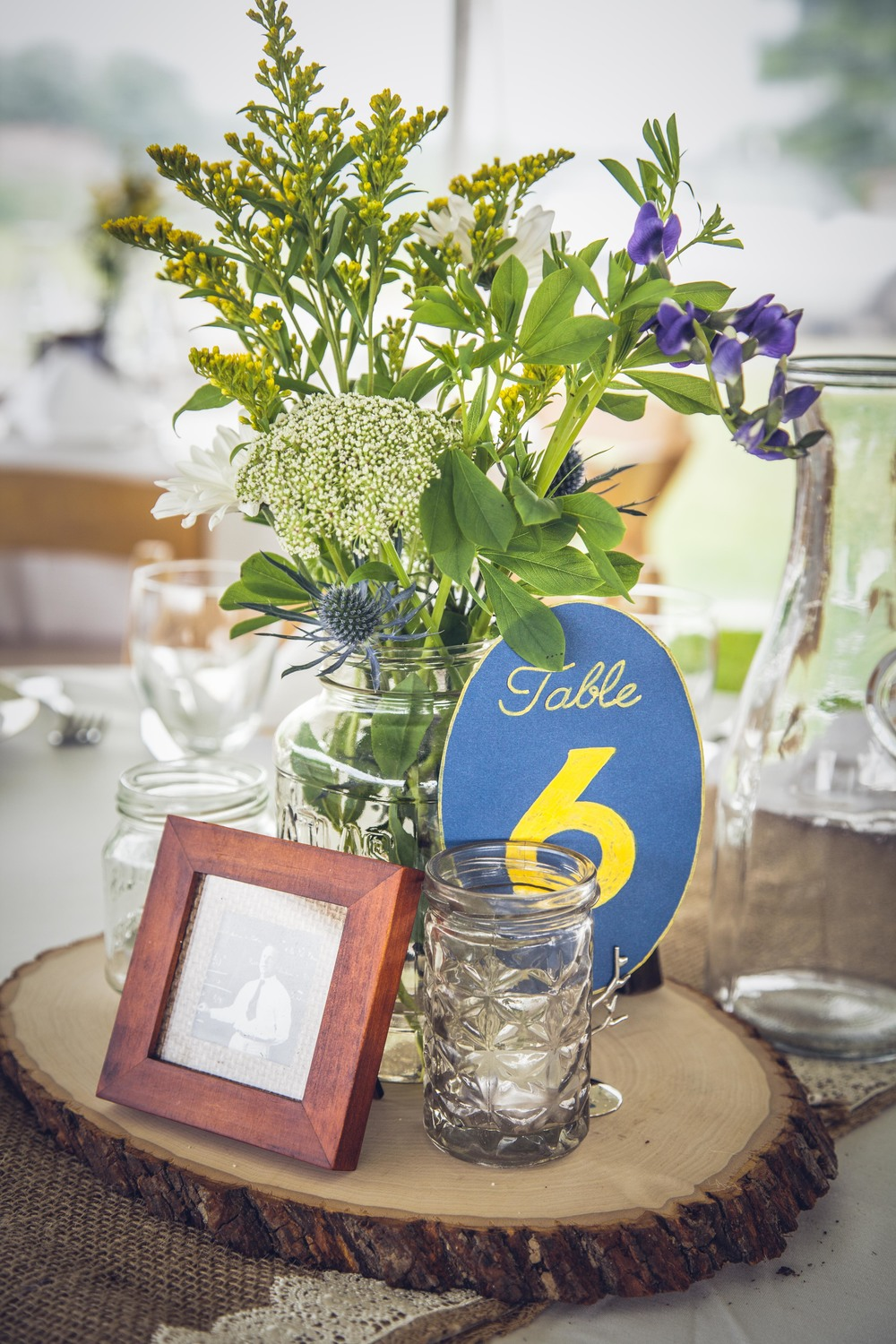 centerpiece with raw wood