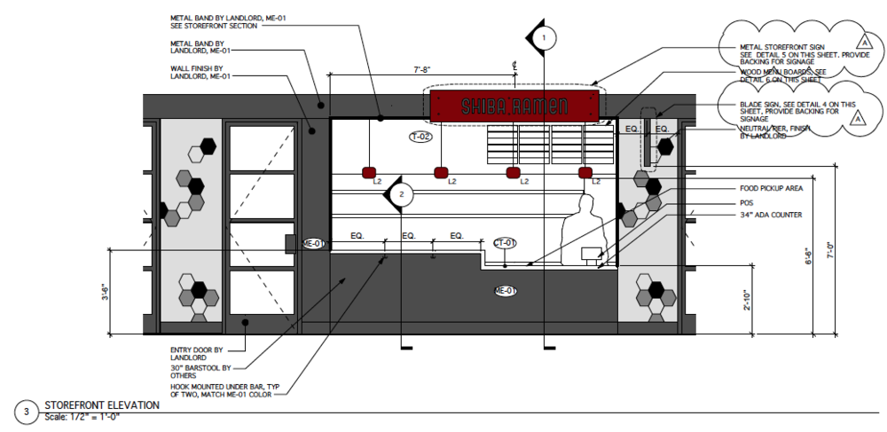 Storefront Elevation Diagram.   Everything to scale.  Here you can see that the bar seating has given way to a standing area.