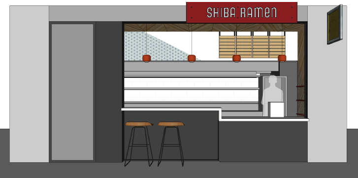 Shiba Ramen .  More or less.  We've had to cut the bar seating due to obscure regulatory requirements.  The storefront elevation diagram below shows the change.  This image does not reflect what the tile will actually look like.  For a more accurate view, see the image below.
