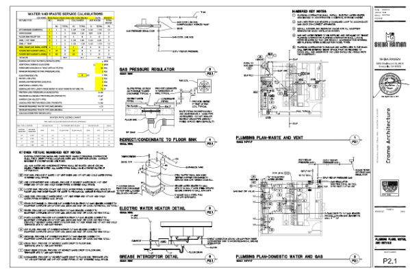 Exhibit A:The offending changes are buried in a small drawing in the upper right corner of the 21st and last page of the construction drawings.