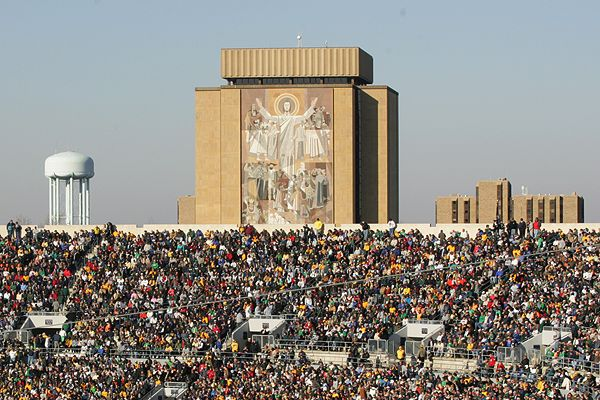 Touchdown Jesus.   University of Notre Dame.  Photo credit  Stacy Paetz .