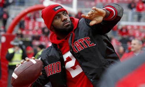 LeBron James.   The greatest basketball player of the age, as well as devoted Ohio State football fan.  Go Cavs!