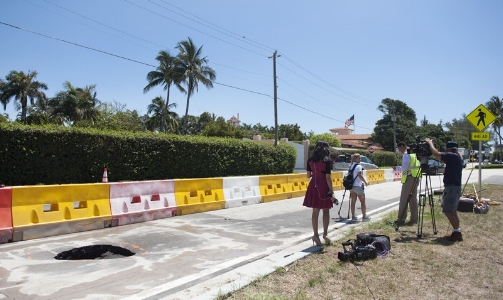 Sinkhole.  Actually, one opened up in front of Mar-a-Lago in May 2017. Photo credit: Palm Beach Daily News.
