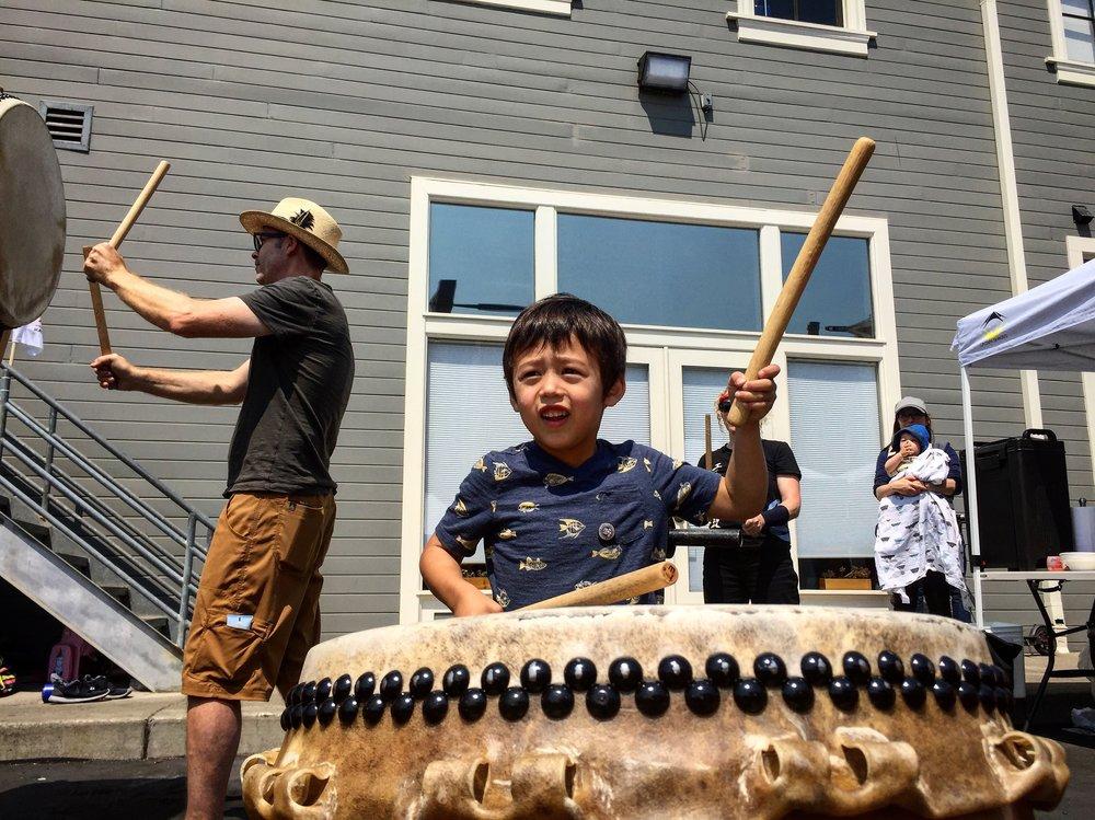 Taiko drumming at Umami Mart's annual Matsuri festival.