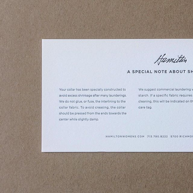 Care cards for @hamiltonshirts designed by @frankandvictor #letterpress