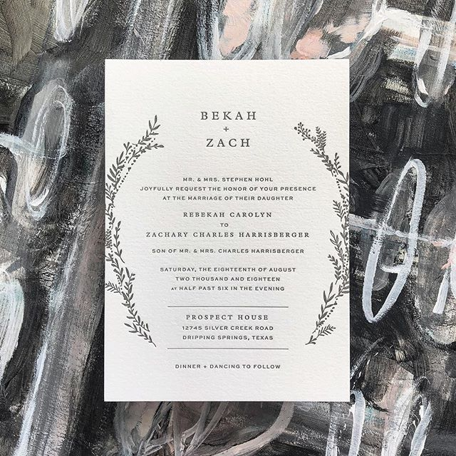 Shoutout to @bekahharrisberger and @zharrisberger who tied the knot this past weekend!! ❤️ #letterpress #custominvitations