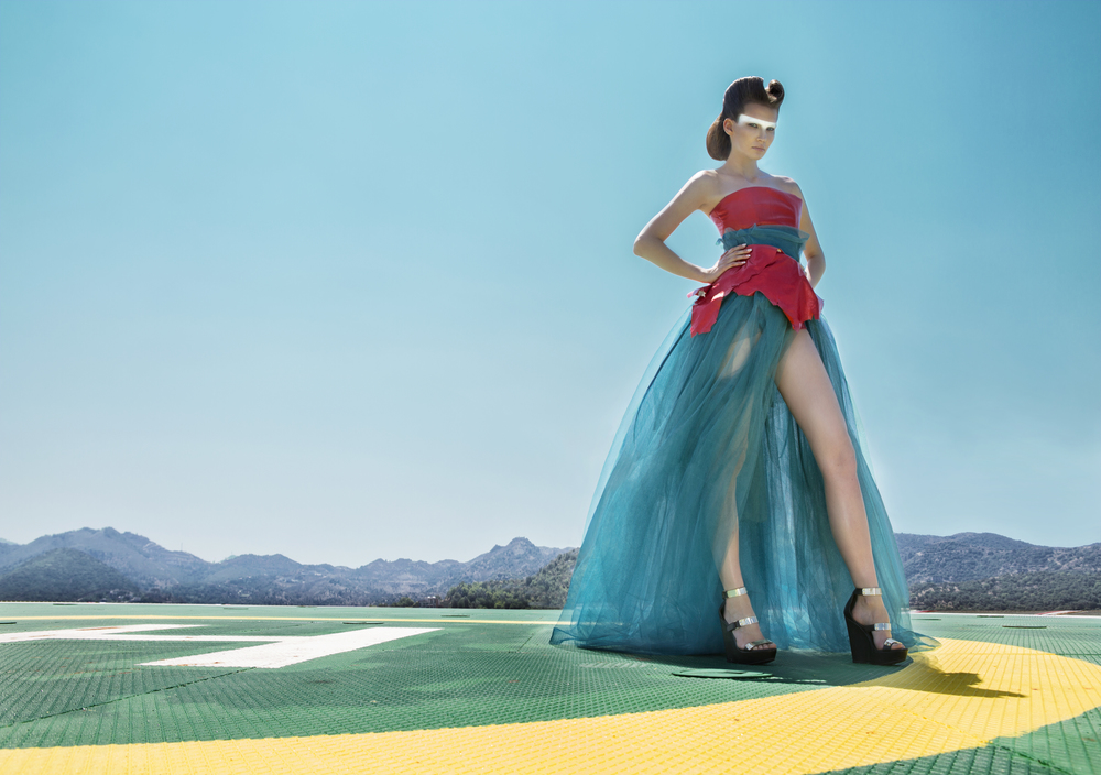 red leather body teal tulle full skirt wide angle.jpg