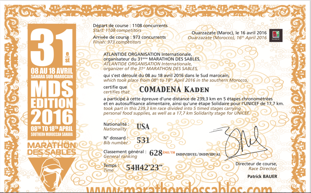Official certificate of completion
