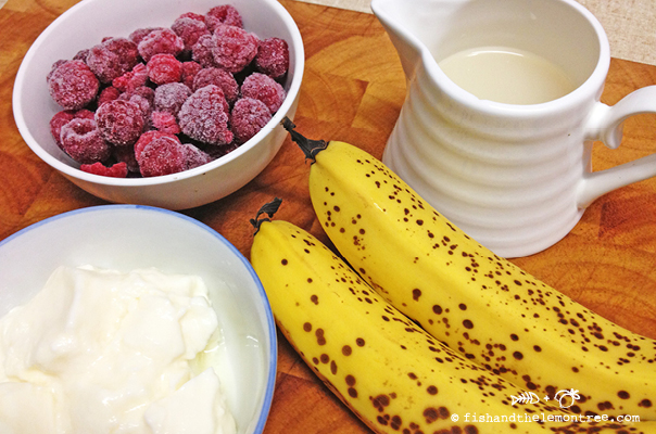 Ingredients for Banana Raspberry Smoothie - Amie Mason copyright 2013