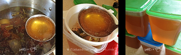 Stock left to slowly bubble overnight, sifting the stock, storing the stock - Amie Mason copyright 2013