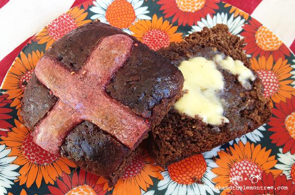 Chocolate, Spelt & Date Hot Cross Buns - Amie Mason copyright 2013