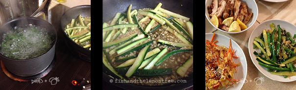Beans in boiling water, frying zucchini with garlic and stock, with the full Chinese spread - Amie Mason copyright 2013