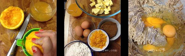 Fresh orange juice, ingredients, creamed sugar, butter and eggs - Amie Mason copyright 2013