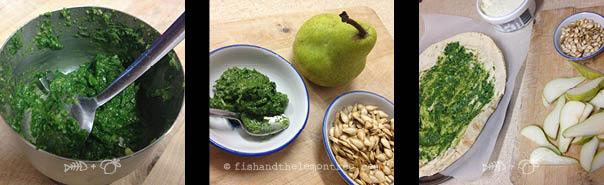 Fresh pesto, ingredients, spreading pesto on base - Amie Mason copyright 2013