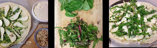 Place pears in fanned out arrangement, adding spinach & ready to bake - Amie Mason copyright 2013