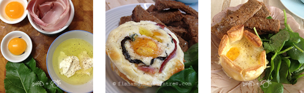 Sour Cream Baked Eggs, ingredients, with spinach or no-bacon with puff pastry - Amie Mason copyright 2013