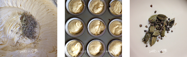 Cardamon White Chocolate Cupcakes, batter for baking, infusing the cream - Amie Mason copyright 2013