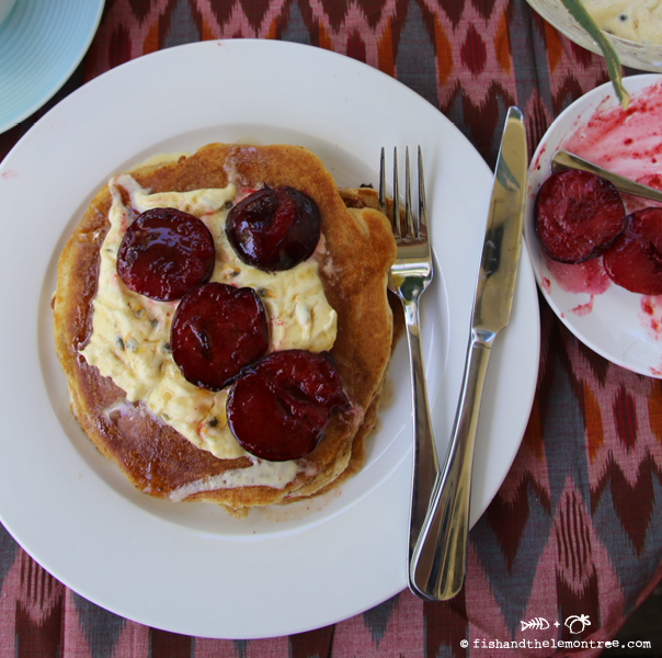Pancakes with Grilled Plums and Passion Fruit Cream - Amie Mason Copyright 2014